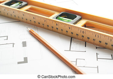 Level and pen on an architects plan