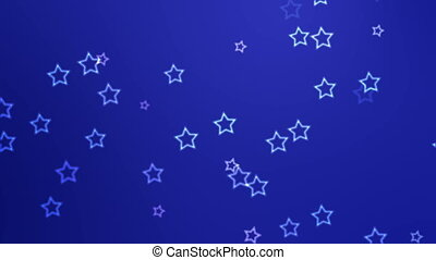 Falling stars - White stars continuously fall against a blue...