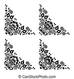 Corner border Polish floral folk - Traditional vector black...