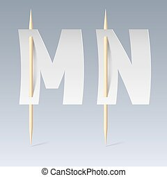 Paper font on toothpicks