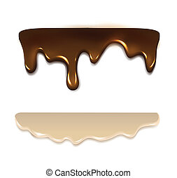 Melting chocolate and milk cream. Vector illustration