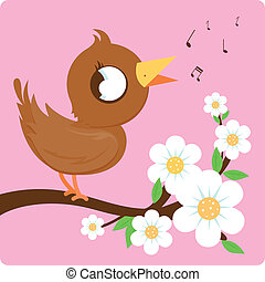Bird on a blossoming branch singing