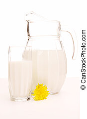 Milk jug and glass on white background