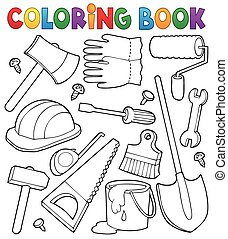 Coloring book tools theme 1 - eps10 vector illustration.
