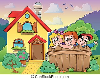House and fence with children - eps10 vector illustration.