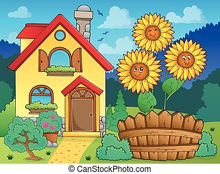 House and flowers 1