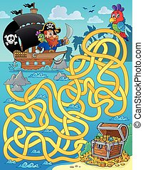 Maze 1 with pirate and treasure - eps10 vector illustration