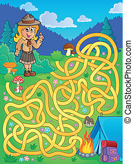 Maze 1 with scout girl - eps10 vector illustration.