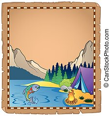 Parchment with lake 1 - eps10 vector illustration.