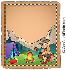 Parchment with scout by campfire