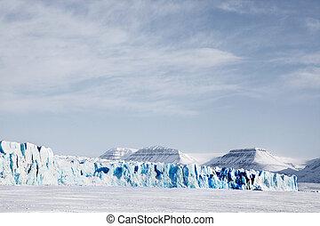 Glacier Landscape - A glacier landscape during winter on the...