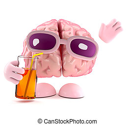 3d Drinking brain - 3d render of a brain drinking a glass of...