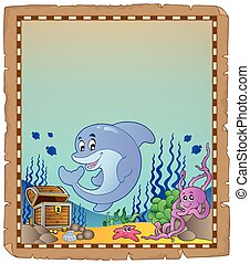 Parchment with underwater theme 3
