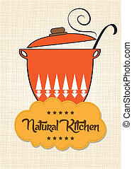 "Cooking pan with message ""natural kitchen"", vector..."