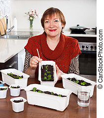 Mature woman working with seedlings in home