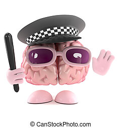 3d Police officer brain - 3d render of a brain dressed as a...