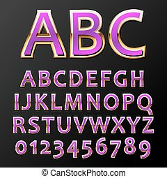 Vector metal font - Vector illustratin of a purple metal...