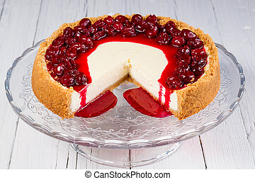 cherry cheesecake on a creative plate, organic food