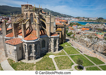 Church of Castro Urdiales, Cantabria, Spain. - Top View of...