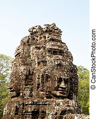 Khmer architecture Bayon temple , Angkor Thom , Siem Reap,...