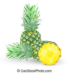 pineapple - ripe pineapple and a slice on a white background...