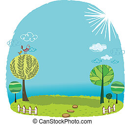 The view of grassland - The view of trees in the grassland