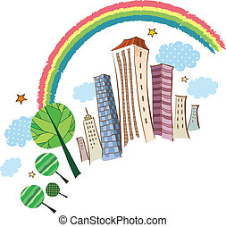 The view of city with rainbow
