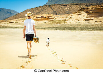 dog and owner alone - dog and owner walking at the beach on...