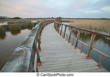 Footbridge walkway. Wetland landscape. Sunset. Tablas de...