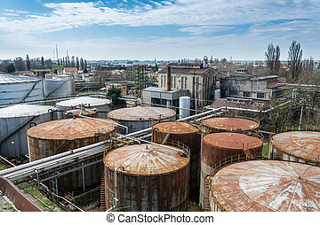 Buildings of an abandoned distillery in Italy