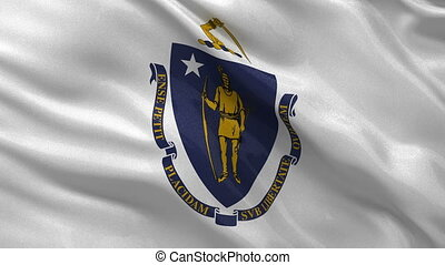 US state flag of Massachusetts loop - US state flag of...