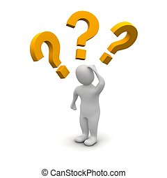 Thinking man and question marks 3d rendered illustration