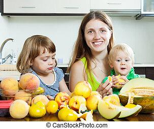 comer, frutas, outro, mãe, Melão, crianças