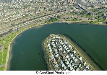 Aerial view of Mission Bay, San Diego - An aerial view of...