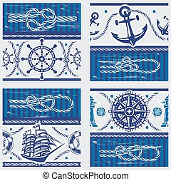 Seampless patterns with Nautical symbols and  marine knots