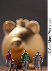 Savings for retirenment - Three pensioners in front of a...