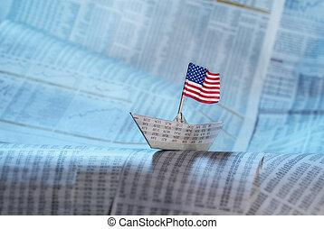 Paper boat with US flag shipping on financial news.