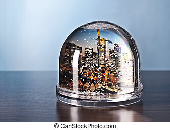 Frankfurt in a snow globe - The skyline of Frankfurt in a...