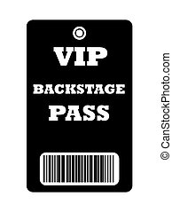 VIP Backstage pass - Black VIP backstage pass with bar code,...
