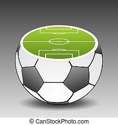 Football ground placed on soccer ball. Vector - Football...