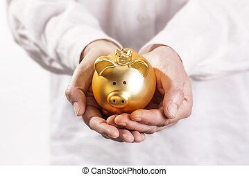 Hands holding piggy bank - Hands holding a golden piggy bank...