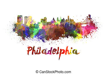 Philadelphia skyline in watercolor splatters with clipping...
