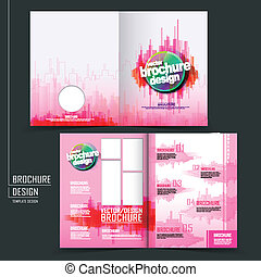 vector brochure layout design with pink city style