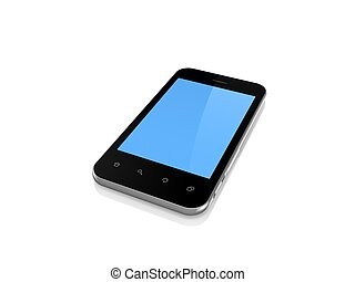 Modern mobile phone with empty screen.Isolated on white.3d...