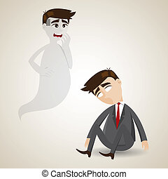 cartoon dead businessman and his soul