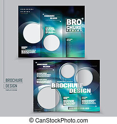 vector tri-fold technology style brochure layout design...