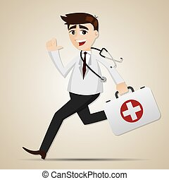 cartoon doctor running with first aid box