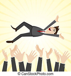 cartoon happiness businessman throw up teammate hand -...