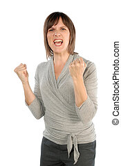 Woman is very angry - Very angry businesswoman clenching her...