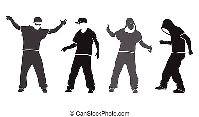 hip hop dancer vector silhouette